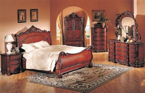 4 Pc Modern High End Traditional Cherry Queen Bed Bedroom High Bed Set