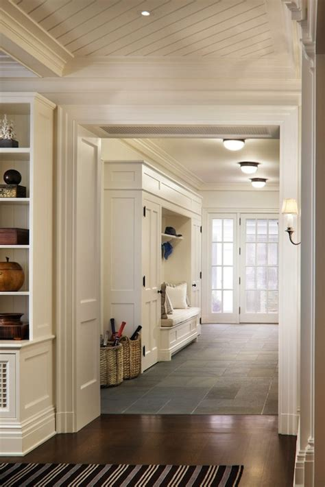 White Bench With Baskets Mudroom Ideas Transitional Laundry Room John B