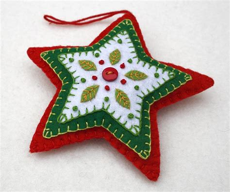 felt star christmas ornament handmade red and green star
