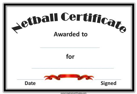 player of the day certificate template free netball certificates