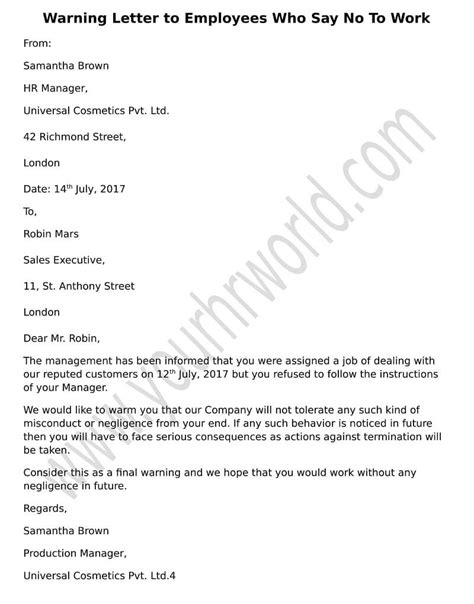 how to write warning letter to employee for late coming