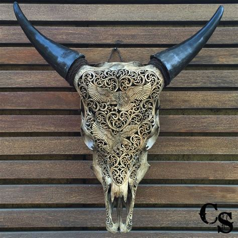 cow skull carved bull cow skull with eagle design antique carved