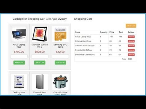 codeigniter tutorial shopping cart codeigniter shopping cart with ajax jquery youtube