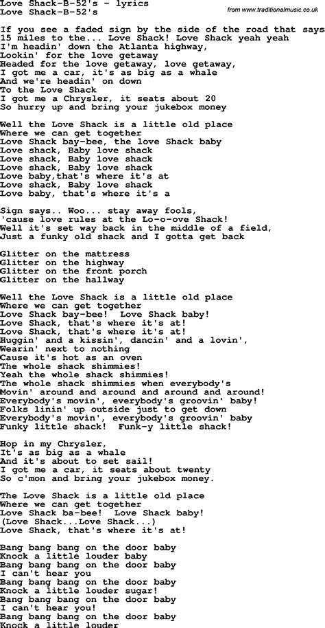 Printable Lyrics To Love Shack | love song lyrics for love shack b 52 s