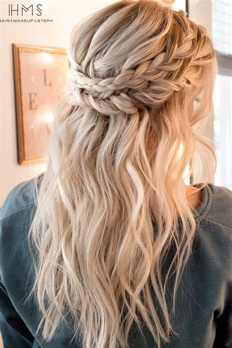 half up hairstyles for hair 15 chic half up half wedding hairstyles for hair