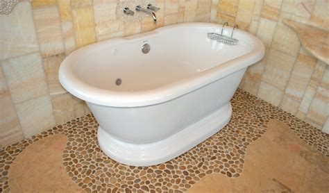 Mosaic Tiles In Bathrooms Ideas by Polished Yellow Pebble Tile