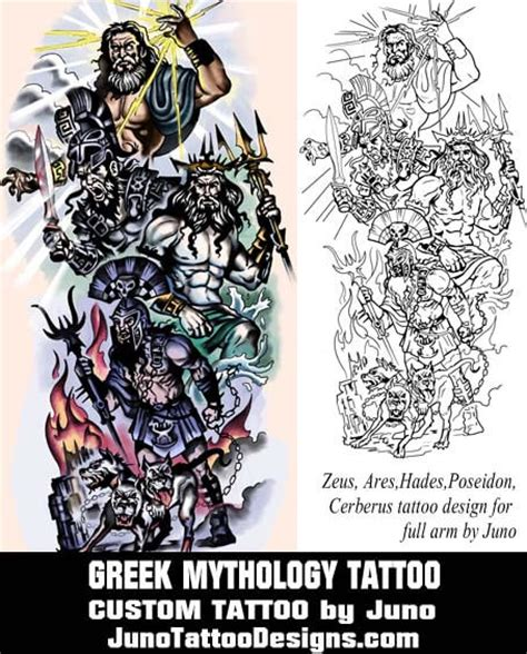 zeus hades ares poseidon tattoo custom tattoo arm male