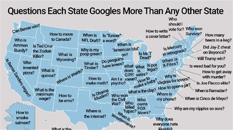 questions each state googles more than any other state new survey shows the most googled question in each state