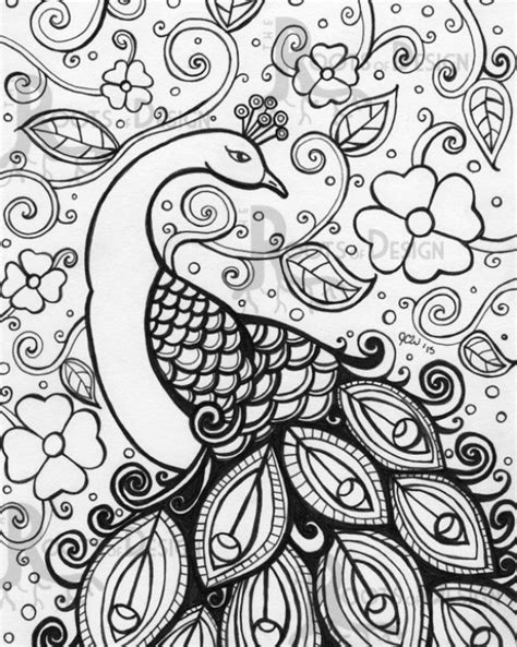 printable peacock difficult pattern coloring page