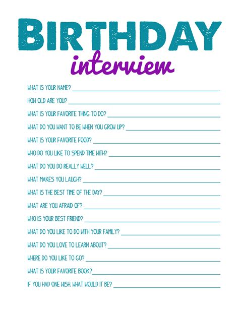 layout design interview questions free printbale birthday interview great for scrapbook