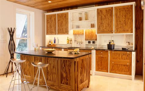 Pecky cypress kitchen cabinets