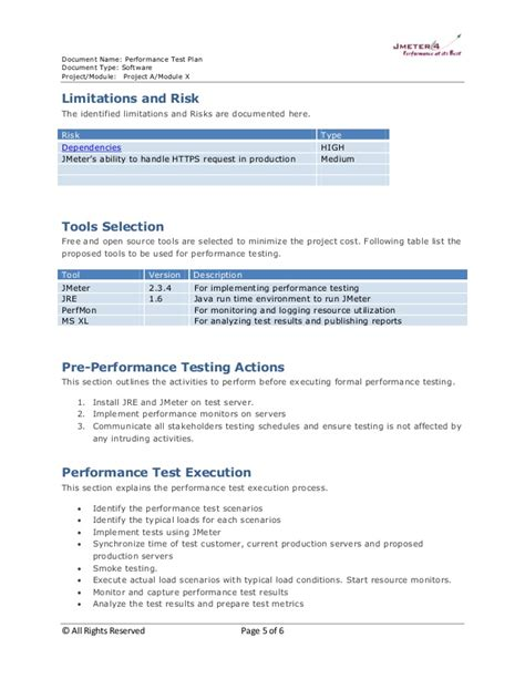 performance testing test plan template performance test plan sle 2