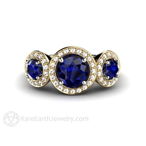 Blue Sapphire Ring V blue sapphire engagement ring with halo cut