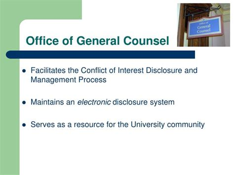 Office Of General Counsel by Ppt Conflict Of Interest Policy Disclosure Process