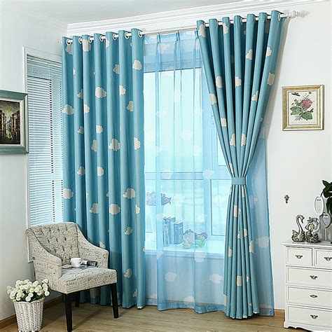 decorative blackout curtains high grade white clouds window screening sheer blue sky