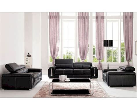 Italian Leather Living Room Set In Black Esf2992set Italian Living Room Set