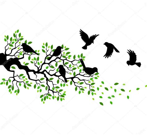 Tree Silhouette Wall Stickers tree silhouette with birds flying stock vector