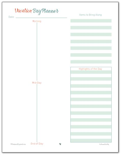 home improvement planner printable vacation planner printables