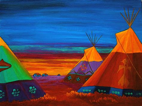 Native American Home Decor by Sunset On The Prairie Painting By Nancy Jolley