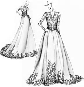wedding dress sketch black and white design lace vintage