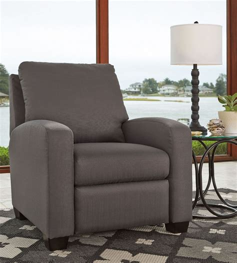 low price recliner chairs ayanna nuvella gray low leg recliner from ashley coleman