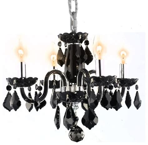 Mini Black Chandeliers With Crystals Transitional Glossy Black Mini Chandelier Contemporary Chandeliers New York By