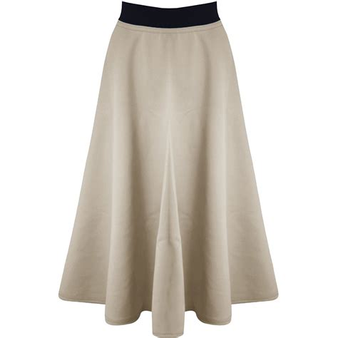 womens midi skirt mid length stretch flared skater