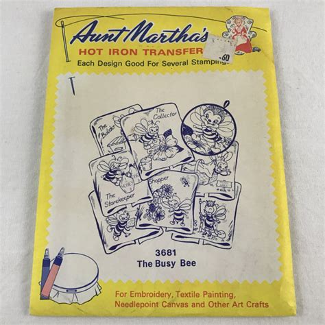 pattern bee vintage embroidery aunt martha s hot iron transfers 3681 the busy bee vintage