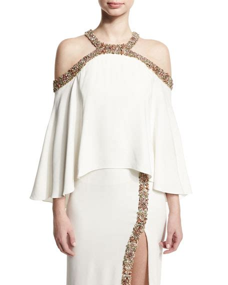 beaded cold shoulder top lhuillier beaded cold shoulder top white