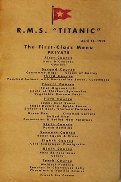 titanic class menu titanic real images and tableware 171 bassia s trends and luxury