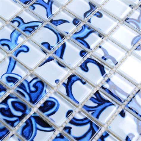 B1 Sarung Tile Ti glass mosaic blue and white tile backsplash kitchen pattern bathroom wall tiles mirror