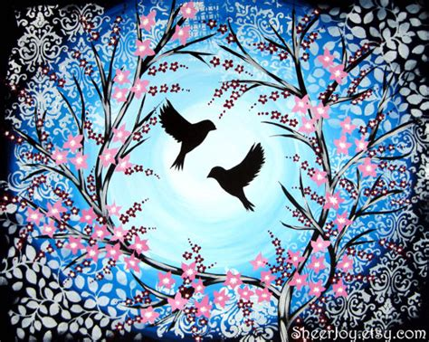 paint nite japanese cherry blossoms cherry blossom birds bird blue tree trees canvas