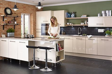 b q kitchen islands cooke lewis raffello high gloss slab diy at b q
