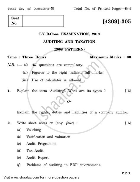 Mba In Taxation by Question Paper Auditing And Taxation 2012 2013