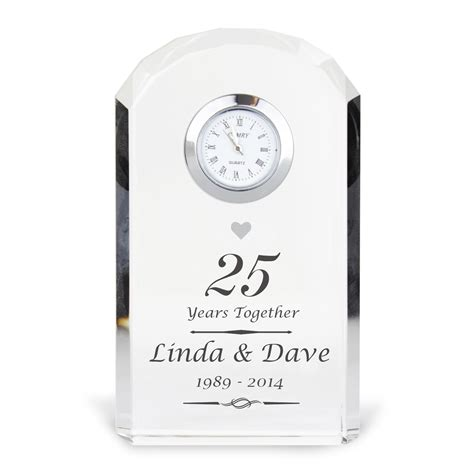 Wedding Anniversary Gift Clock by Personalised Silver Anniversary Clock