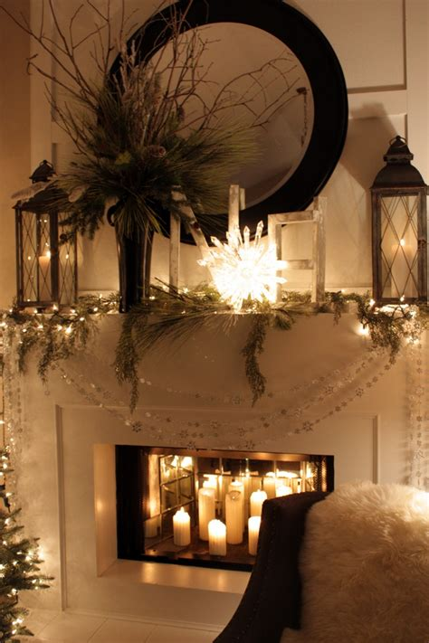 winter white mantel church candles in the place