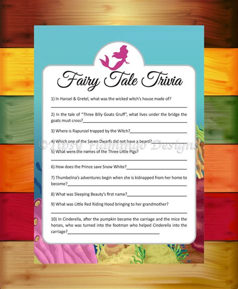 Tales Trivia Baby Shower by Tale Trivia Baby Shower Shower Mermaid