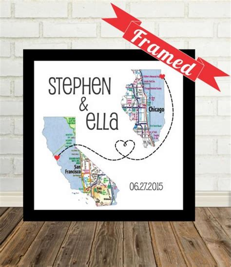 personalized wedding gift customized long distance love wedding gift personalized map print framed unique