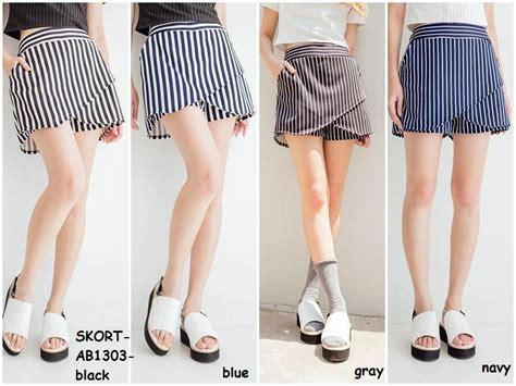 Kulot Katun Garis jual skort skirt rok celana pendek garis stripe kulot korea import amelie butik