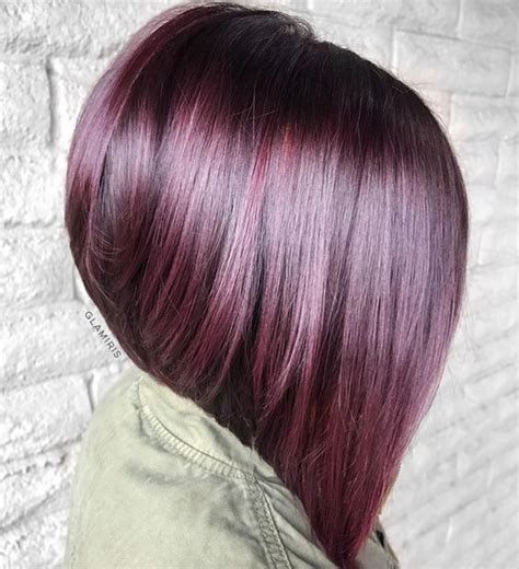 plum burgyndy bob hairstyle 95 purple hair color highlights lowlights for dark