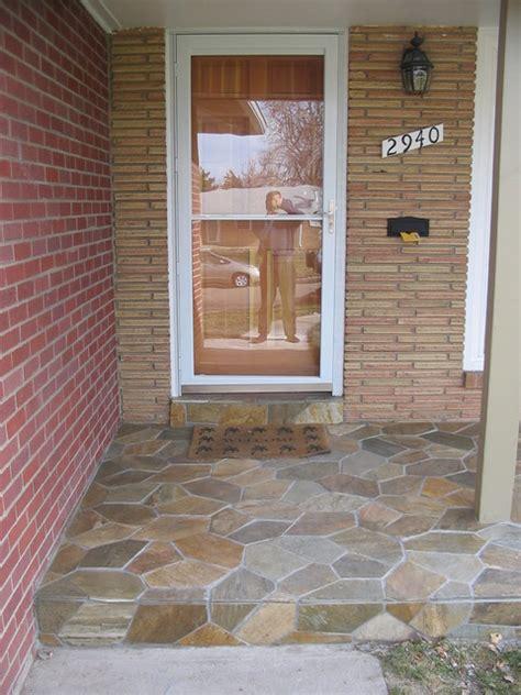 Front Porch Cobblestone Slate Tile Front Door Tiles