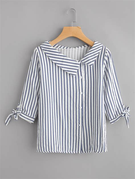 Tie Cuff Blouse vertical striped tie cuff blouse shein sheinside