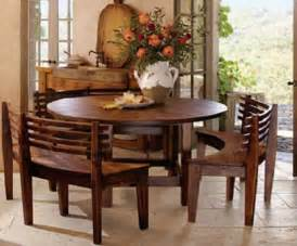 Round dining room table sets with benches modish round dining