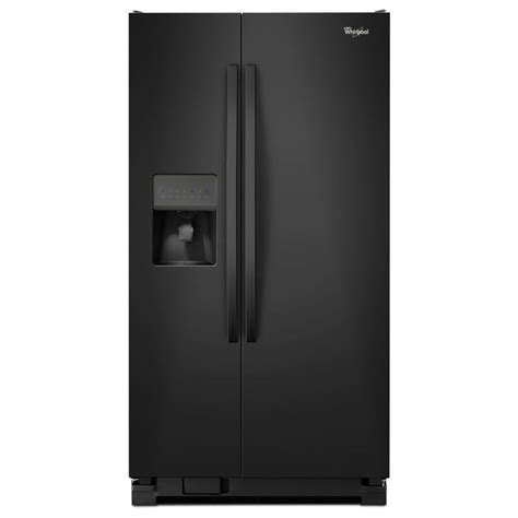 shop whirlpool 24 5 cu ft side by side refrigerator with maker black at lowes