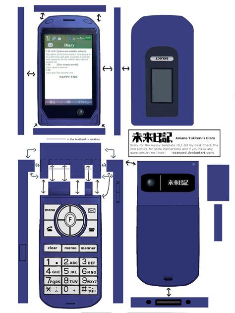 Papercraft Phone - mirai yuki s diary papercraft template by svanced on