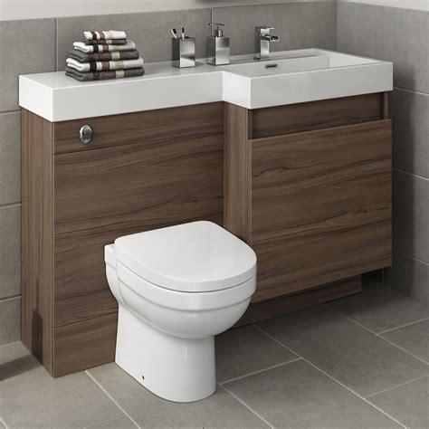 Modern Bathroom Units Modern Walnut Bathroom Vanity Unit Countertop Basin Back To Wall Toilet Mv2740 Ebay