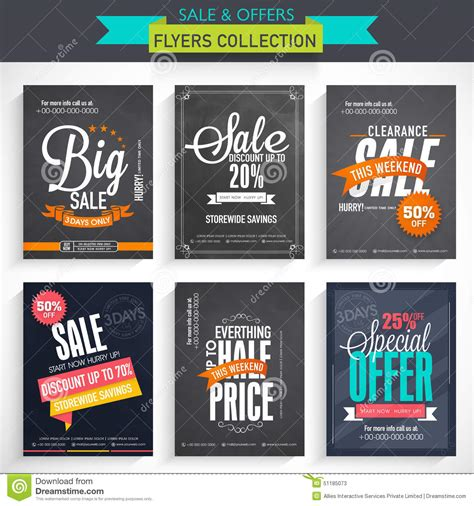set of sale flyer collection stock illustration image