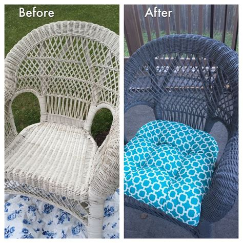 restored wicker chair just some glossy grey spray paint and a new seat cushion gardening and