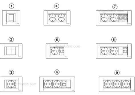 Construction Plan Symbols sockets switches 1 dwg free cad blocks download