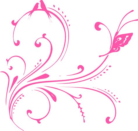 Qw Wallpaper Sticker Rangkai Bunga Sulur Pink pink swirl birds butterfly princess clip at clker vector clip royalty